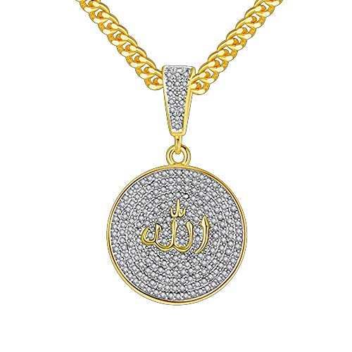 Männer Hip Hop Kubikzircon Runde Allah-Anhänger-Halskette Islam Muslim Arabisch Goldfarbe Gebet Schmuck Geschenk Iced Out,Gold