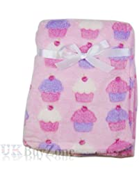 Baby Newborn Fleece Blanket Swaddling Wrap Swaddle Hooded Robe Dressing Gown Girl or Boy, Pink or Blue, 0+ Months Unisex (Baby Blanket Cupcakes)