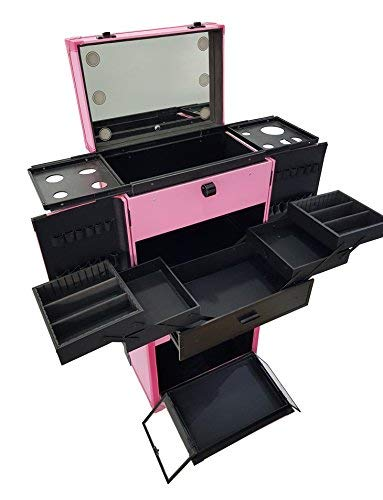 800194eb9 LOVECRAZY - Maletín Profesional para Maquillaje y Manicula,Multiuso Con Luz  Organizador Cosmetica (Rosa