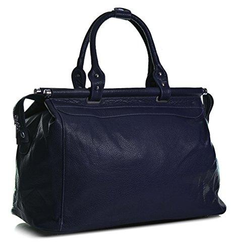 Big Handbag Shop Borsone bagaglio a mano Borsa da viaggio in pelle sintetica in volo Navy (NL220)