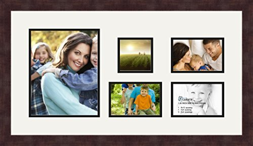 ArtToFrames Art to Frames Double-Multimat-330-754/89-FRBW26061 Collage Frame Photo Mat Double Mat with 1 - 8x10 and 1 - 4x4 and 3 - 4x6 Openings and Espresso frame