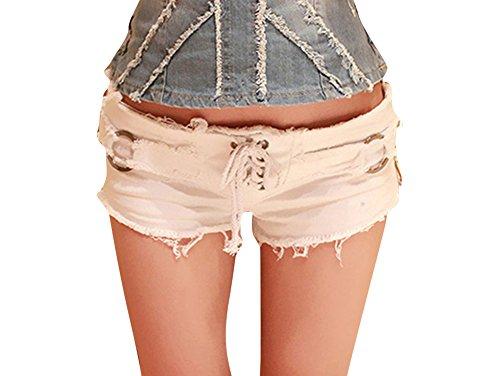 Donna Sfilacciato Jeans Pantaloncini Vita Bassa Hot Pants Denim Mini