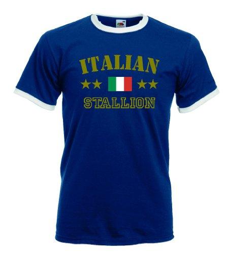 world-of-shirt Italian Stallion Herren T-Shirt Retro Trikot|navy S