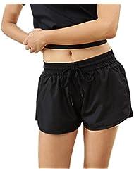 Huntvp Short de Sport Femme Confortable Pantalon court Mode pour Fiteness Loisirs Yoga Plage Course Noir
