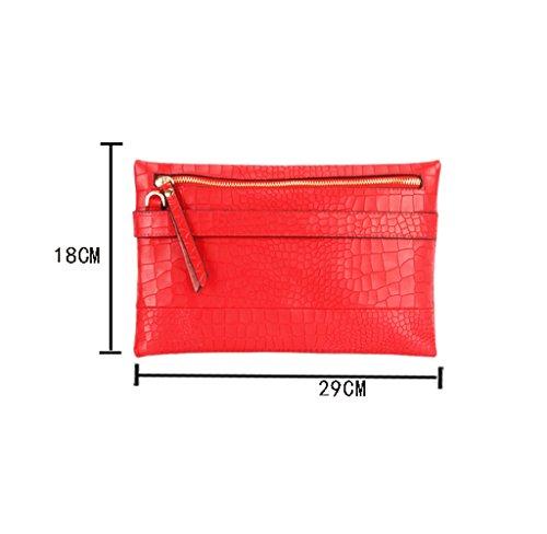 Home Monopoly Borsa della borsa nuova borsa femminile della signora borsa Messenger Bag di modo ( Colore : Nero ) Rosso