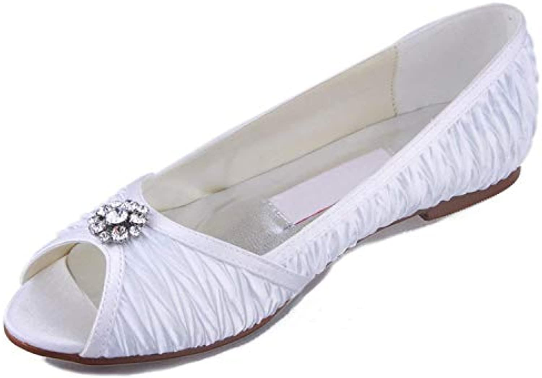 Qiusa GYMZ676 donna Handmade bianca Satin Evening Party Prom Sposa Scarpe da Sposa Sandali Pompe Flatfs UK 7.5... | Di Rango Primo Tra Prodotti Simili  | Uomini/Donna Scarpa