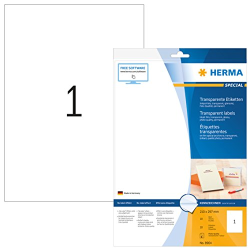 Herma 8964 Tintenstrahldrucker Folienetiketten transparent, Foto-Qualität DIN A4 Format (210 x 297mm, Klebefolie klar) 10 St, 25 Blatt, bedruckbar