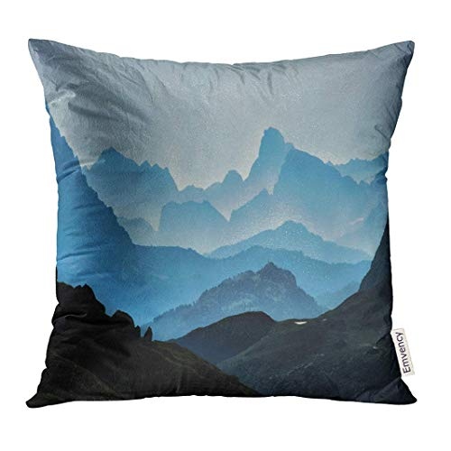 Throw Pillow Cover Blue Range Mountains Mystic Landscape Fog Forest Decorative Pillow Case Home Decor Square 18x18 Inches Pillowcase - Mystic Werfen