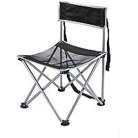 CRUTCH aluminio ligero plegable silla plegable portátil heces pesca pequeña silla, black back