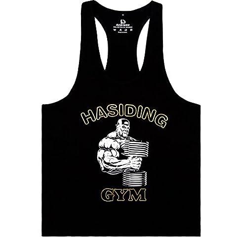 hasiding Homme Athletic Stringer Y arrière pour Tops - Noir - Large