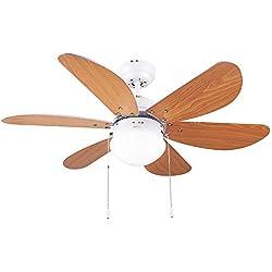 Cecotec Ventilador de techo Ventilateur de Plafond ForceSilence Aero 360, 6, 50 W, 3 Vitesses, Lumière incorporée, Pales réversibles, Marron, 36