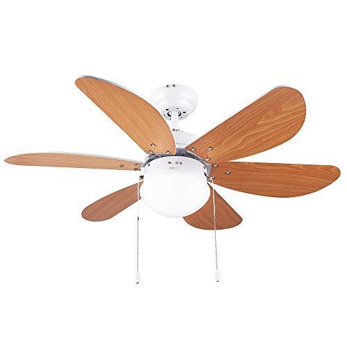 Cecotec Ventilador de techo Ventilateur de Plafond ForceSilence Aero 360, 6, 50 W, 3 Vitesses, Lumière incorporée, Pales...