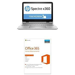 "HP Spectre x360 13-4110nl, Intel Core i5-6200U, RAM 8 GB, SSD da 256 GB, Display Full HD13.3"" + Microsoft Office 365 Home 32/64 Bit - ITA (Versione 2016)"