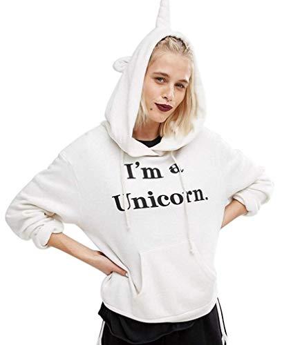 super popular 9d709 10e4f Felpa Unicorno con Cappuccio e Orecchie Pullover Donna Inverno Autunno  Sweatshirt Tumblr Tinta Unita Swag Felpe Stile Hip Hop Streetwear Maglia ...