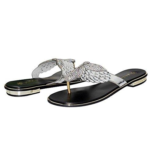 SYYAN Damen PU Strasssteine Pinch Toe Handgemacht Flip Flops Silber Silver