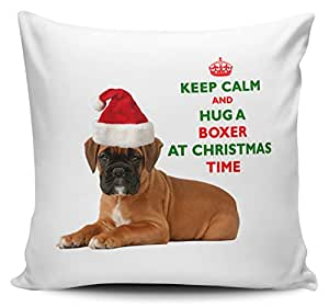 Keep Calm and Hug a Boxer à Noël/Noël/Festive Housse de coussin