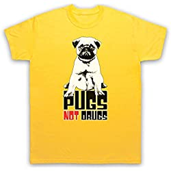 Pugs Not Drugs Slogan Camiseta para Hombre, Amarillo, 2XL