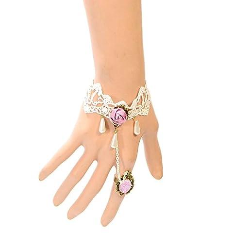 Frau Legierung Einfach Armband Retro Hand Rose Spitze Spitze Armbänder,White-L