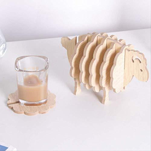 Zyhoue Sottobicchieri- Tappetini da Tavolo Legno Fai da Te Assemblato Ornamenti di Pecora Assemblati Desktop Decorazione Tavolo Tavolo Mat Coasters Posto Creativo Mat Arreda Mento Casa 1pc