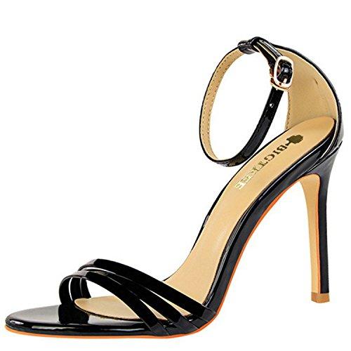 Oasap Women's Open Toe Buckle Strap Stiletto Gladiator Sandals Black