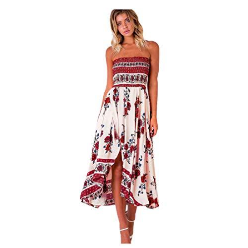 BHYDRY Frauen aus Schulter Boho Long Maxi Abend Party Strandkleid Floral Sommerkleid(X-Large,Rot)