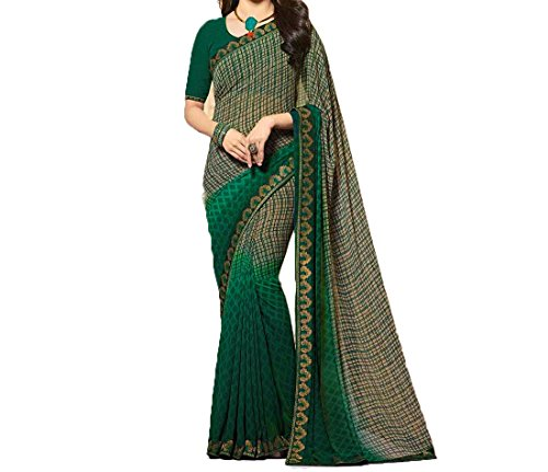 Traditional fashion georgette printed sarees with banglori silk material blouse piece (green)
