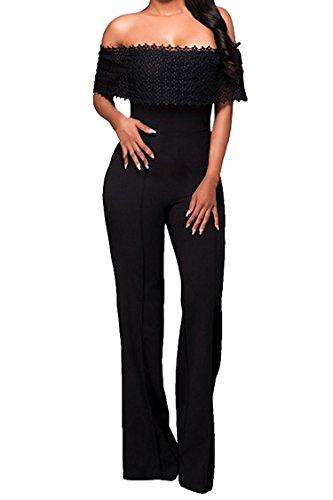 Elegant Damen Jumpsuit IHRKleid® Spitze Lang Hosen Overall Party Abendmode (M, Schwarz)