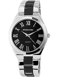 Trend de Wares de mujer reloj de pulsera Negro Plata analógico de cuarzo metal clásico Números Romanos Mujer Reloj