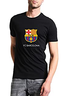 ad336e39e Mott2 Unisex Cotton FC Barcelona UEFA Champions League Football Theme  Printed Round Neck Jersey T-
