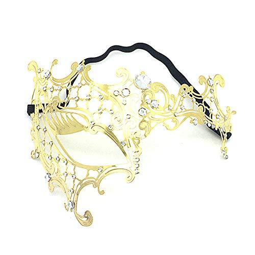 Scrox 1 Pieza Máscaras Venecianas Fiesta de Baile Oro Máscaras Halloween Mujer/Hombre Elegante Metal Mask Vestidos de Fiestas de Niña Navidad Decoracion Creativo (C)
