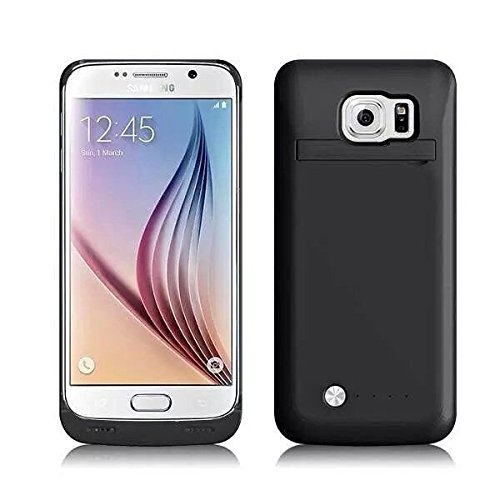 BasicStock Samsung Galaxy S6 Akku Hülle, 4200mAh [Anti-Rutsch] 150% Extra Ersatz Akku Externe Batterie Juice Pack Akkuhülle Backup Powerbank Schutzhülle Ladegerät Hülle Battery Case (Schwarz)