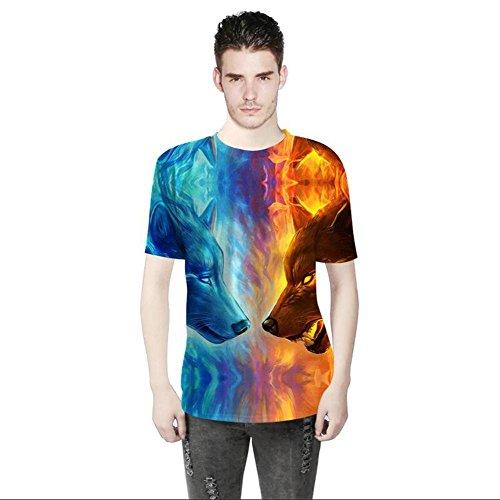 OOSM&h Männer T-Shirt 3D Bunter Wolf gedruckt O Hals Kurzarm Sommer Top Tees, Photo, s