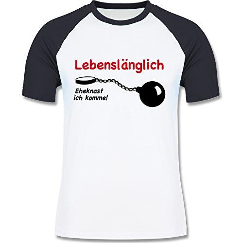 JGA Junggesellenabschied - Lebenslänglich - Eheknast ich komme - zweifarbiges Baseballshirt für Männer Weiß/Navy Blau