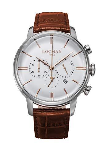 Locman 1960 Dolce Vita/orologio uomo/quadrante bianco/cassa acciaio/cinturino pelle marrone/ref. 0254A08R-00WHRGPN