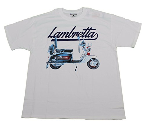 Lambretta Scooter Mens Retro MOD Tee T-Shirts White