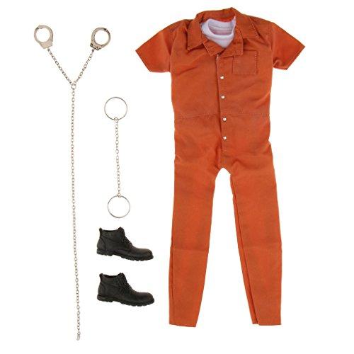 Sharplace 1/6 Skala Orange Gefängnis Kleidung Set Für -