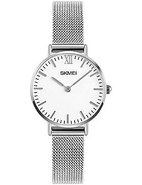 Mode Einfach Ultra dünn Zwei Zeiger Leicht zu lesen Zeit Legierungsgewebter Gürtel Armbanduhren für Herren Damen...