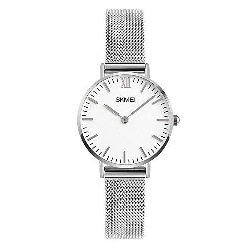 Unisex Uhren Kalender Ultradünn Römische Analog Damenuhren Herrenuhren Edelstahl Uhrenband Elegant, Silber-S