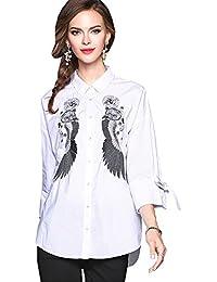 JOTHIN 2018 Autunno Bianco Camicia Taglie Forti Bluse Larghi Basic  Camicetta Ricamati Motivi Tops Donna 6d4386ad9ebb