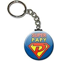 Super Papy Porte clés chaînette 38mm ( Idée Cadeau Papi Fête des grands pères Noël Anniversaire )