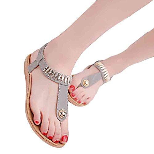 Tongs, Oyedens Été Femme Tongs Doux Fashion Perlée Clip Toe Flats Femmes Herringbone Bohême Sandales Gris