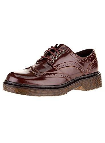 oodji Collection Mujer Zapatos Tipo Oxford de Piel Sintética, Marrón, 37 EU / 4 UK