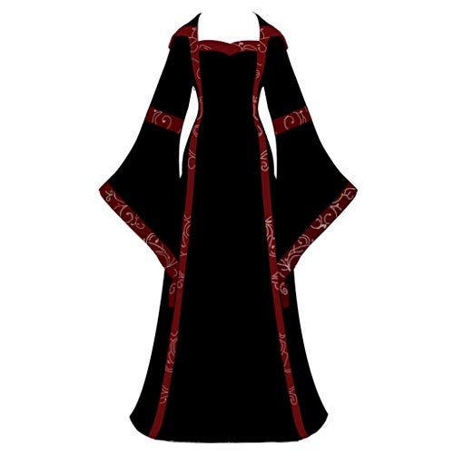LOPILY Kleider Damen Mittelalter Kostüm mit Trompetenärmel Maxikleid mit Schnüren Halloween Kostüm Damen Sexy Fashingskostüme Kanerval Gothic Bekleidung Prinzessin Königin Kleid (Schwarz, 34)