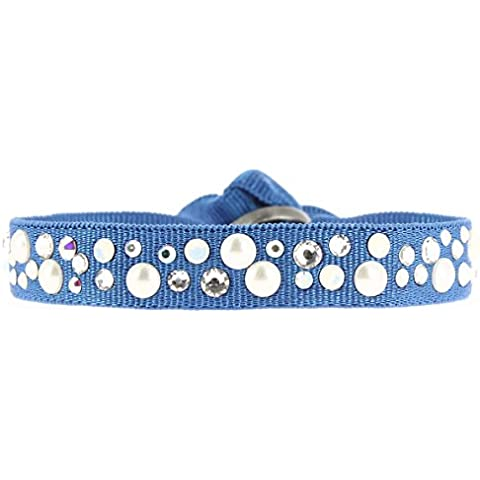 Las lentes intercambiables-Pulsera perlas 9 MM, color azul