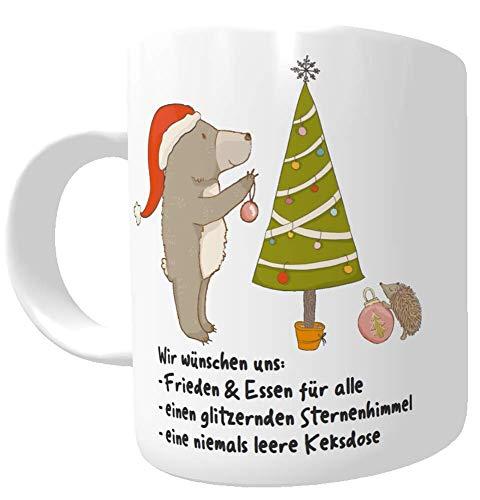 Kilala Tasse Weihnachtswünsche Weihnachtstasse Teetasse Punschtasse Kakaotasse Wichtelgeschenk Nikolaustasse Bär Tannenbaum