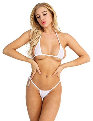 Agoky Transparent Mesh Bikini Set zum binden extrem See-Through Swimsuit Neckholder Bikini Oberteil BH Bra Micro Thong Sexy Badeanzug Bademode