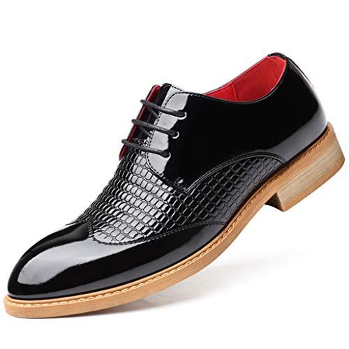 K-flame scarpa elegante da uomo in pelle lucida scarpa elegante in pelle bianca lucida scarpa da matrimonio elegante casual di grandi dimensioni con lacci per il lavoro d'ufficio,nero,39