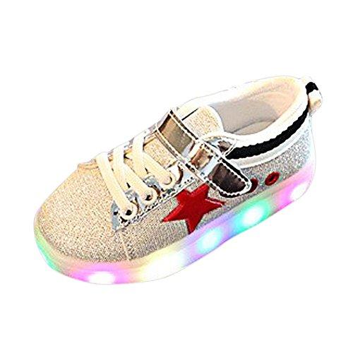 FNKDOR 1-6 Jahre Jungen Mädchen LED Licht Schuhe Sneaker Sportschuhe (29 Fußlänge:18CM, Rot) (Converse-plattform)