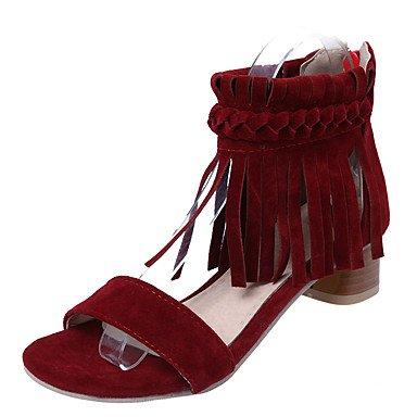 LvYuan Da donna-Sandali-Formale-Altro-Quadrato-Finta pelle-Nero Rosso Beige Red