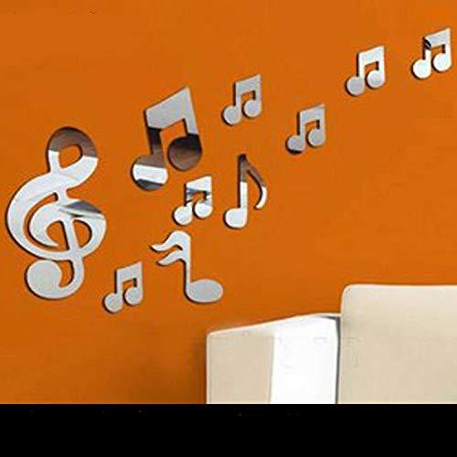 JWQT Kristall-Stereolithographiespiegel der Anmerkung 3D, Acrylwandaufkleber, Kindergartenmusikklassenzimmer, Wanddekoration der Kinderzimmer, Postpost, SILBER VERSPIEGELT Acryl, groß (Großen, Verspiegelten Bilderrahmen)